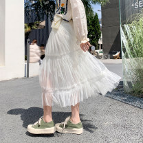 skirt Spring 2021 Average size Off white, black Mid length dress commute High waist A-line skirt Solid color Type A polyester fiber fold