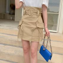 skirt Spring 2021 S,M,L,XL Khaki, army green Short skirt commute High waist A-line skirt Solid color Type A F0324036 51% (inclusive) - 70% (inclusive) polyester fiber pocket Korean version