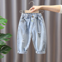 trousers Chao Bao Liang Bei male 80cm,90cm,100cm,110cm,120cm,130cm Light blue, off-c59 pants light blue, ace-c85 pants light blue, ace-c85 pants gray spring and autumn trousers leisure time No model Jeans Leather belt middle-waisted Denim Don't open the crotch Cotton 78% polyester 22% Class B