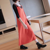 Dress Autumn of 2019 Black, blue, orange M,L,XL,2XL Mid length dress singleton  Sleeveless commute Crew neck Loose waist Solid color other other routine camisole 25-29 years old Korean version Bandage LX-0069 More than 95% knitting other