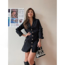 Dress Winter 2020 Black, black (stock) XS,S,M,L Short skirt singleton  Long sleeves street tailored collar High waist Solid color double-breasted A-line skirt routine Type A Button cotton Europe and America