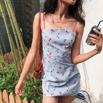 Dress Summer of 2018 XS S M L Blue (spot) Short skirt sweet Single sleeveless A collar other other Sling Type X 25-29 years old NDZ zipper Brocade cotton