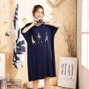 Nightdress Other / other Cartoon Short sleeve Leisure home Middle-skirt summer Solid color middle age Crew neck Bamboo charcoal fiber printing More than 95% Modal fabric 220g