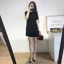 Women's large Summer 2020 Black dress M (90-115 kg), l (116-125 kg), XL (126-140 kg), XXL (141-155 kg), XXXL (156-170 kg), XXXXL (170-190 kg) Dress singleton  commute easy moderate Socket Short sleeve Solid color Korean version Crew neck polyester fiber Three dimensional cutting routine WN0000006