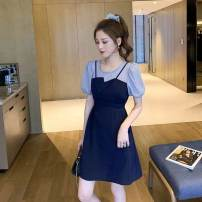 Women's large Summer 2021 Navy blue, black S,M,2XL,3XL,4XL,L,XL Fake two pieces commute Short sleeve other Korean version Crew neck polyester fiber other 18-24 years old 71% (inclusive) - 80% (inclusive) Middle-skirt