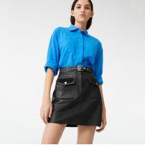skirt Summer 2020 S,M,L,XL black Short skirt Versatile High waist A-line skirt Solid color Type A Sheepskin Other / other Sheepskin Button, zipper, 3D 201g / m ^ 2 (including) - 250G / m ^ 2 (including)