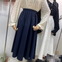 skirt Spring 2021 M,L,XL Orange, white, Navy, black, yellow, light bean green Mid length dress Versatile High waist Solid color