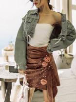 skirt Summer 2021 S,M,L Pink Short skirt gorgeous High waist Irregular Type H Fold, three-dimensional decoration, nail bead, Sequin, zipper