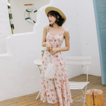 Dress Summer 2020 Apricot Pink S,M,L longuette singleton  Sleeveless Sweet V-neck High waist Decor Pleated skirt camisole Type A Maixu More than 95% other polyester fiber Bohemia