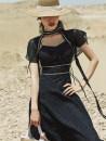 Dress Summer 2020 black S,M,L Mid length dress Two piece set Short sleeve Sweet V-neck High waist stripe Socket A-line skirt Princess sleeve Others Type A Zipper, bandage, three-dimensional decoration other