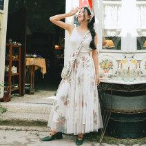 skirt Summer of 2018 XS,S,M,L Decor Mid length dress fresh High waist A-line skirt Decor Type A 25-29 years old other Maixu polyester fiber