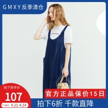 Dress Summer of 2019 Dark blue CH19, orange brown CF13 S,M,L,XL Mid length dress singleton  Short sleeve commute other middle-waisted other other routine Others 25-29 years old Type H GMXY lady printing GZ1930170102 More than 95% other hemp