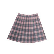 skirt Autumn 2020 S,M,L Moldy peach, moldy peach + bow tie Short skirt Sweet Pleated skirt lattice 18-24 years old solar system