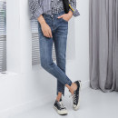 Jeans Youth fashion Others 27,28,29,30,31,32,33,34 blue routine Micro bomb Cotton elastic denim Ninth pants Other leisure Four seasons youth middle-waisted Slim feet Exquisite Korean style 2018 Pencil pants zipper Three dimensional tailoring washing cotton