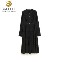 Dress Spring 2021 black M,L,XL longuette singleton  Long sleeves commute Doll Collar High waist Solid color Socket A-line skirt routine 25-29 years old Type A Button Chiffon polyester fiber