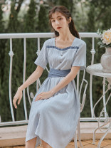 Dress Summer 2020 Blue short sleeves, blue Suspenders S,M,L Mid length dress singleton  Short sleeve commute square neck High waist Solid color Socket A-line skirt routine Others 18-24 years old Type A Retro Bows, stitches, straps, buttons 51% (inclusive) - 70% (inclusive) other polyester fiber