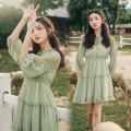 Dress Autumn of 2019 Green, purple S,M,L Middle-skirt singleton  three quarter sleeve commute V-neck Elastic waist Solid color Socket A-line skirt bishop sleeve Others Type A Retro Bow, ruffle, lace 81% (inclusive) - 90% (inclusive) Chiffon polyester fiber