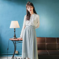 Fashion suit Spring 2021 S,M,L Light blue skirt, Off White Chiffon shirt in stock, two piece set in stock 18-25 years old 51% (inclusive) - 70% (inclusive) polyester fiber