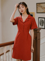 Dress Summer 2021 Retro Red S,M,L Short skirt singleton  Short sleeve commute tailored collar High waist Solid color Single breasted A-line skirt routine Others 18-24 years old Type A literature Pocket, button 51% (inclusive) - 70% (inclusive) other cotton