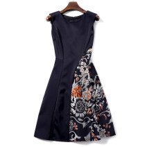 Dress Autumn 2020 black M,L,XL,2XL Middle-skirt singleton  Sleeveless street Crew neck High waist zipper A-line skirt routine Others Type A Other / other Europe and America