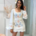 Dress Spring 2021 White, blue S,M,L Short skirt singleton  Long sleeves commute square neck High waist Decor zipper A-line skirt routine 25-29 years old Type H Embroidery 91% (inclusive) - 95% (inclusive) polyester fiber