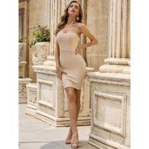 Dress / evening wear Company annual meeting, adult ceremony, performance, wedding, party, date, daily life XS,S,M,L Apricot sexy Middle-skirt Elastic waist Summer 2020 Self cultivation Chest type Bandage Heavy silk, rayon Sleeveless Herve Leger routine 91% (inclusive) - 95% (inclusive)