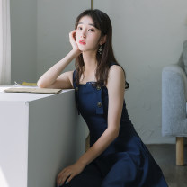 Dress Summer of 2019 Navy Blue S,M,L Mid length dress singleton  Sleeveless commute High waist Solid color zipper A-line skirt straps 25-29 years old Type A Other / other Retro Pocket, strap, button, zipper 81% (inclusive) - 90% (inclusive) brocade cotton