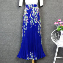 skirt Summer of 2019 Average size Sapphire blue, watermelon red longuette commute High waist Pleated skirt Decor Type A 25-29 years old Q328 More than 95% Chiffon Other / other Retro
