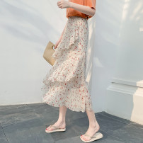 skirt Summer 2021 S,M,L,XL Flower 1, flower 2, flower 5, flower 6, flower 7, flower 9, flower 10, flower 11, flower 12, flower 13, flower 14, flower 15, flower 16, flower 17 longuette Versatile High waist Cake skirt Decor Type A 18-24 years old 30% and below Chiffon other Lotus leaf edge