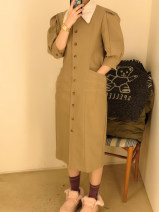 Dress Spring 2021 khaki S,M,L Mid length dress singleton  elbow sleeve commute stand collar High waist Single breasted A-line skirt puff sleeve Others Type H Korean version