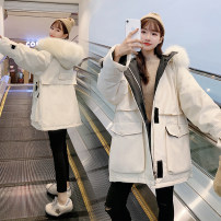 Women's large Winter of 2019 White, black, blue S [suggested 90-120 kg], m [suggested 120-145 kg], l [suggested 145-170 kg], XL [suggested 170-200 kg] cotton-padded clothes singleton  commute easy thickening Cardigan Long sleeves Solid color Korean version Hood Medium length cotton raglan sleeve