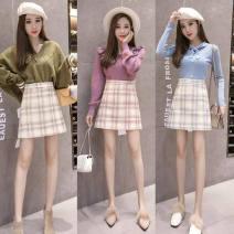 skirt Autumn 2020 XS,S,M,L,XL,2XL Blue check, pink check, green check, leggings Short skirt High waist A-line skirt D zipper