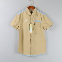 shirt Youth fashion Others XL,2XL khaki routine Pointed collar (regular) Short sleeve standard Other leisure summer