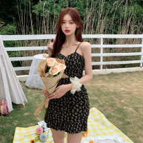 Dress Spring 2021 Picture color Average size Short skirt singleton  Sleeveless commute V-neck High waist Broken flowers Socket A-line skirt camisole 18-24 years old Type A Korean version Printed, hollow out, open back 30% and below other other
