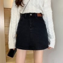 skirt Winter 2020 S,M,L black Short skirt commute High waist A-line skirt Solid color Type A 18-24 years old 30% and below other other Pocket, button Korean version