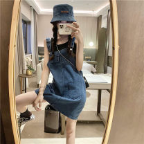 Dress Summer 2021 navy blue Average size Short skirt singleton  Sleeveless commute square neck Loose waist A-line skirt straps 18-24 years old Type A Retro Pocket, strap 30% and below other other