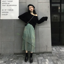 skirt Autumn 2020 Average size Black T piece, blue green skirt piece Mid length dress commute High waist A-line skirt Type A 18-24 years old 30% and below other other Retro