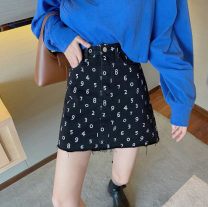 skirt Summer 2021 S. M, average size Blue sweater piece, printed skirt piece Short skirt commute High waist A-line skirt Dot Type A 18-24 years old 30% and below other other pocket Retro