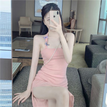 Dress Summer 2020 Pink Average size Mid length dress singleton  Sleeveless commute One word collar High waist Solid color A-line skirt Breast wrapping 18-24 years old Type A Three dimensional decoration 30% and below other other
