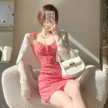 Dress Summer 2021 Picture color S,M,L Short skirt singleton  Sleeveless commute V-neck High waist A-line skirt camisole 18-24 years old Type A Retro Fold, tie, print 30% and below other other