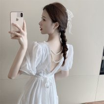 Dress Summer 2021 White, blue Average size Mid length dress singleton  Short sleeve commute square neck High waist Solid color A-line skirt puff sleeve 18-24 years old Type A Retro Hollowed out, open back, wrinkled 30% and below other other