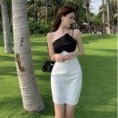 Dress Summer 2021 White dress S, M Short skirt singleton  Sleeveless commute other High waist A-line skirt camisole 18-24 years old Type A Korean version Splicing 30% and below other other
