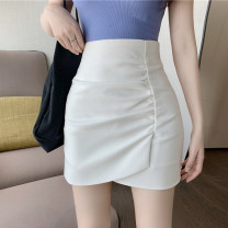 skirt Summer 2020 S, M White, purple Short skirt commute High waist Irregular Solid color Type A 18-24 years old 30% and below other other Fold, asymmetric Korean version