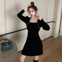 Dress Winter 2020 Black dress S, M Short skirt singleton  Long sleeves commute square neck High waist Solid color A-line skirt routine 18-24 years old Type A Retro Nail bead 30% and below other other
