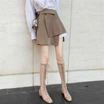 skirt Autumn 2020 S. M, l, average size Jacket piece, skirt piece Short skirt commute High waist Irregular Solid color Type A 18-24 years old 30% and below other other Asymmetry Korean version