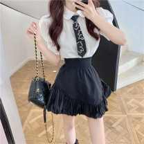 Fashion suit Summer 2021 S. M, average size Black skirt piece, shirt piece 18-25 years old 30% and below