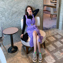 Dress Autumn 2020 Black single, grey single, purple single Average size Mid length dress singleton  Sleeveless commute V-neck Loose waist Solid color zipper other straps 18-24 years old Type H Korean version Pocket, zipper 30% and below other other
