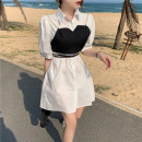 Dress Summer 2021 Apricot, white Average size Short skirt Two piece set elbow sleeve commute Polo collar High waist Solid color Single breasted A-line skirt puff sleeve 18-24 years old Type A Korean version Button 30% and below other other