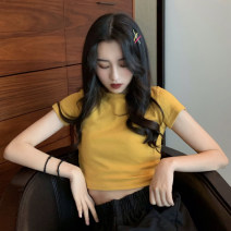 T-shirt Black, yellow, white, pink Average size Summer of 2019 Short sleeve Crew neck Self cultivation have cash less than that is registered in the accounts routine commute other 30% and below 18-24 years old Korean version Solid color