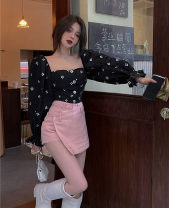 skirt Summer 2021 S,M,L Black top piece, pink skirt piece, black skirt piece Short skirt commute High waist A-line skirt Type A 18-24 years old 30% and below other other Pocket, asymmetric, button Korean version